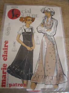 """PATRON VINTAGE """"MARIE CLAIRE """"ROBE CHASUBLE A BRETELLES   TAILLE 36 AU 40"""