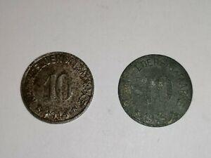 2x Münzen Kleingeldersatzgeld HOF 5 Pfennig Deutsches Reich #2115
