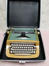 Vtg Royal Sabre Manual Typewriter-2-Tone Green/Gold w/Carrying Case & Key-Works