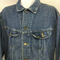 Vintage LEE Riders Trucker Jacket Sz XL Denim Blue Jean Distressed USA 153438