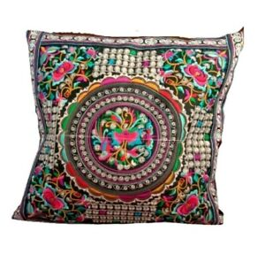 Floral Pillow Case Thai Hmong Embroidered Cushion Cover Bohemian Couch Sofa Deco