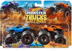 Hot Wheels Monster Trucks Rodger Dodger VS Dodge Charger R/T 1:64 Metal Die-Cast