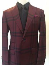 Super 150 Cerruti Burgundy/black notch lapel wool suit made in Italy