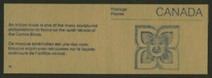 Canada 1187a Booklet BK96a Indian Mask Cover MNH Parliament Buildings