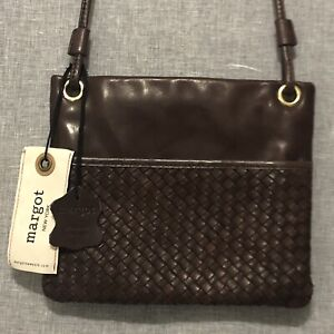 Margot NY Leather Crossbody Purse Bag Woven Cognac NWT