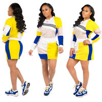 New Women's Casual Long Sleeve Patchwork Mini Fashion Dress Fall Clubwear 2pcs