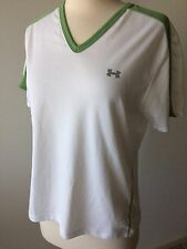 UNDER ARMOUR Women's White and Green Short Sleeve Workout Shirt Size M EUC