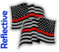 Reflective FIREFIGHTER American Flag Hard Hat Stickers Flags Decals Helmet USA