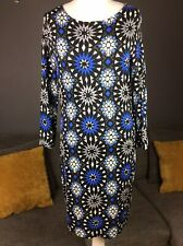 Biba Geometric Print Womens Size Uk 12 Jersey Stretch Dress 3/4 Slv Vgc A2