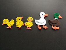 5 Farm ducks felt die cuts. Embellishments. Card Topper. bunting. Scrap book