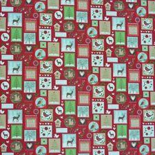 Tela de Cortinas Decorativa Venta por Metros Animales Patchwork Navidad Rojo