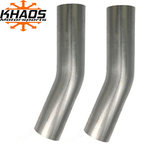 "2-1/4"" 2.25"" 22.5 Degree 16ga Aluminized Mandrel Bend Exhaust Elbow 2 Pack"