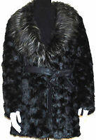 LADIES BLACK FAUX FUR BELTED JACKET COAT WITH FUR COLLAR SIZING  8-16