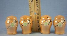Individual Salt & Pepper Shakers Peach Lusterware with Raised Flower Design