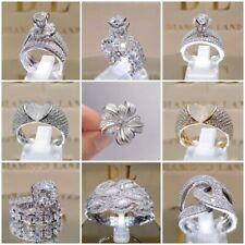 Dazzling 925 Silver White Sapphire Rings Set Women Wedding Engagement Jewelry