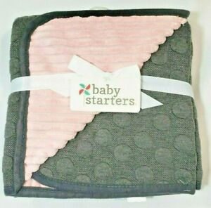 2 ply reversible Baby Girl Blanket  Gray Textured Knit Front & Pink Plush Back