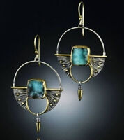 Vintage 925 Silver Turquoise Ear Hook Stud Dangle Drop Earrings Women Jewelry