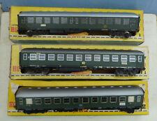 Model Railway (Fleischmann HO) bogie Coaches (DB olive green) Qty. 3. Boxed