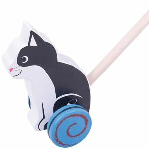 Bigjigs Baby Wooden Push Along Cat Toy, Age 12M+
