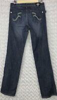 ROCK & REPUBLIC Womens Dark Wash Skinny Straight Leg Jeans Blue Sz 25 Long 28X32