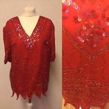 Vintage Red Sequin V Neck Top Large