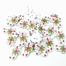 50pcs Christmas Decoration  crutches sugar Wooden buttons Sewing festival 30mm