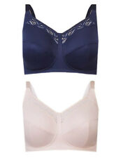 Ex M*S 2 Pack Indigo Rose Total Support Lace Cut Out Full Cup Bras (TS14)