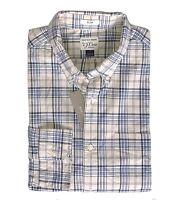 J.Crew Mens L Slim Fit - NWT$59 Blue/Khaki Beige Plaid Secret Wash Cotton Shirt