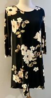 New Super Soft Dress Size Small S Black Floral Stretch 3/4 sleeves Fall