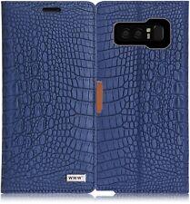 Galaxy Note 8 Case Crocodile Pattern Premium PU Leather Wallet Card Slots Navy