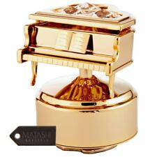 24K Gold Plated Music Box with Crystal Studded Grand Piano Figurine by Matashi