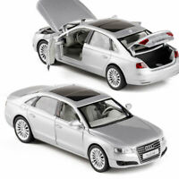 1:32 Audi A8 Model Car Diecast Toy Vehicle Gift Silver Kids Pull Back Collection