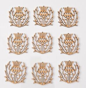 Wooden MDF Blank hanging flower shape - Scottish Thistle - set of 9 items