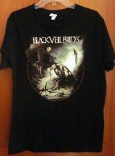 BLACK VEIL BRIDES lrg T shirt 2000s glam metal Wind Skeleton w/ Flag beat-up tee
