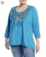 Johnny Was Women's Plus 2X Blue Izamal Embroidered Floral Cotton Top NWT
