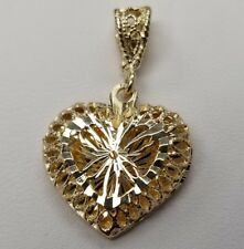 14K Yellow SOLID Gold Diamond Cut Heart Pendant Filigree Charm 1.5 Grams