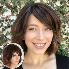 Black Brown Heat Resistant Short Curly Wavy Hair Fluffy Oblique Bangs Full Wig