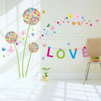 Colorful Dandelion Letters Stickers Waterproof Living Room Bedroom Wall Decors