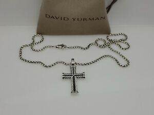"David Yurman Men's Chevron Cross Pendant Necklace with 22"" Box Chain"
