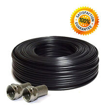 Satellite TV Coaxial RG6 Cable 50M Black (2free F-Connectors)