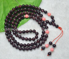 Real Natural Garnet Pink Coral 108 Prayer Beads Mala Necklace 6-7mm C2427