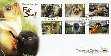 Tristan da Cunha 2017 FDC Subantarctic Fur Seal 6v Set Cover Seals Stamps