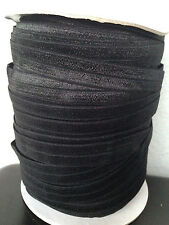 "50 yard Black FOE Fold Over Elastic trim 5/8"" for Hair Ties, Baby Headband"