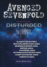 "AVENGED SEVENFOLD / DISTURBED/IN FLAMES ""2017 UK & SCOTLAND"" TOUR CONCERT POSTER"