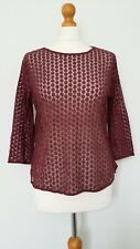 Topshop Burgundy Red/Purple Floral Embroidery Sheer Top Size 14