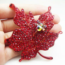 Art Nouveau Red Maple Leaf Rhinestone Crystal Woman Vintage Style Brooch Pin