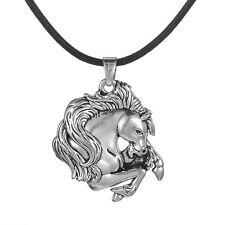 Tibetan Silver Animal Pewter Horse Head Men Women Pendant Necklace