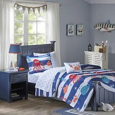 Fish Whales Octopus Nautical Beach Kid Twin Comforter Set (6 Piece Bed In A Bag)