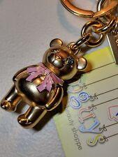 COACH 3D BOW BEAR Bag Charm Key Chain Ring F27696 Gold/Gold w/ Pink Bow BNWT