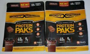 2 Pack CHOCOLATE Body Fortress 100% Premium Whey Protein Powder 18 1 oz. Paks.
